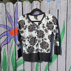 Evie Floral Cardigan Sweater Top Small